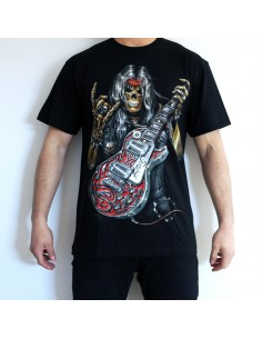 CAMISETA DE ADULTO 3D CALAVERA GUITARRA GLOBAL BRANDS - 1