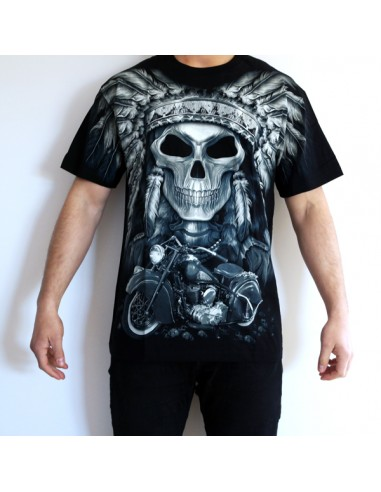 CAMISETA DE ADULTO CALAVERA PLUMAS GLOBAL BRANDS - 1