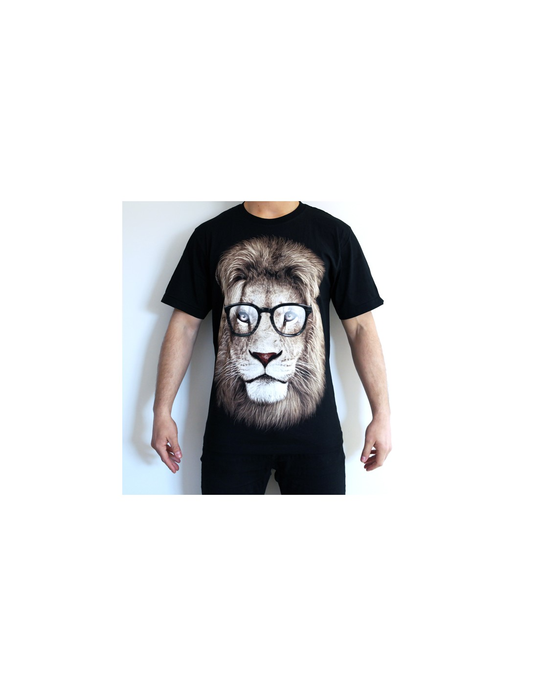 LION WITH GLASSES ADULT T-SHIRT