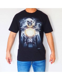 CALAVERA FARO MOTO CAMISETA NEGRA 3D ADULTO GLOBAL BRANDS - 1